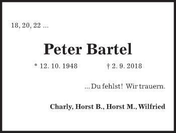 Traueranzeige für Peter Bartel vom 08.09.2018 aus Hannoversche Allgemeine Zeitung/Neue Presse
