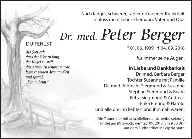 Traueranzeige von  Peter Berger