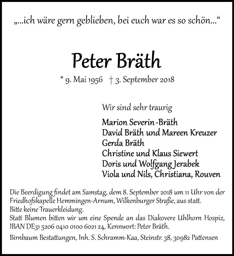 Traueranzeige von  Peter Bräth