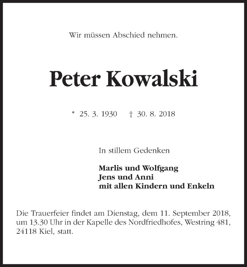 Traueranzeige für Peter Kowalski vom 08.09.2018 aus Kieler Nachrichten