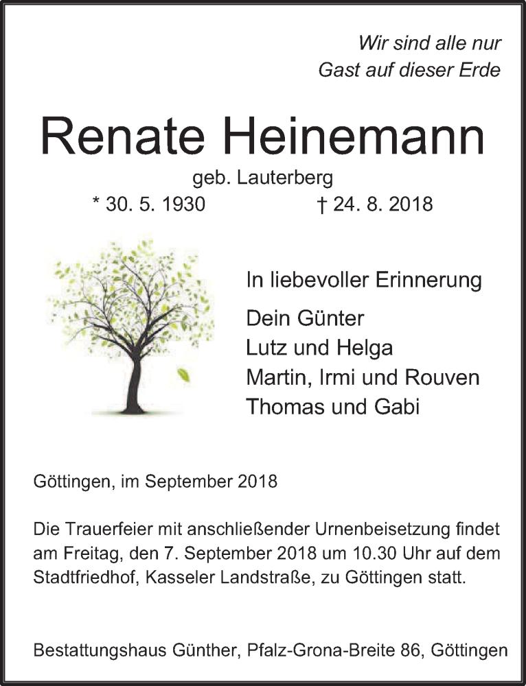Traueranzeige von  Renate Heinemann