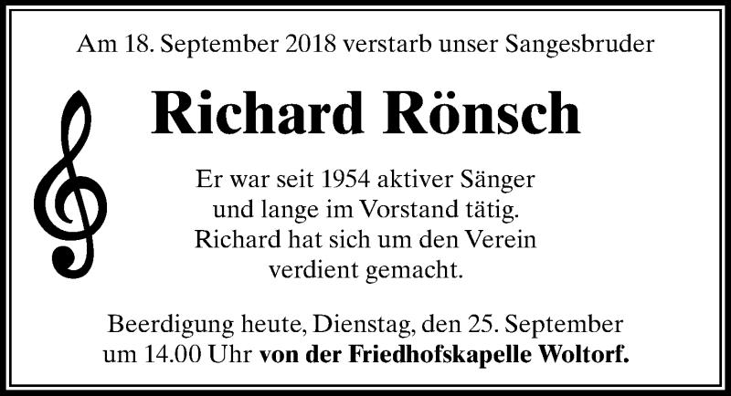 Traueranzeige für Richard Rönsch vom 25.09.2018 aus Peiner Allgemeine Zeitung