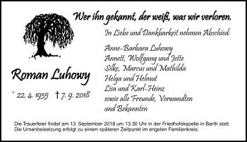 Traueranzeige für Roman Luhowy vom 11.09.2018 aus Ostsee-Zeitung GmbH