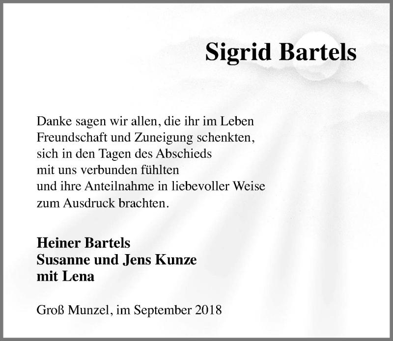 Traueranzeige von  Sigrid Bartels
