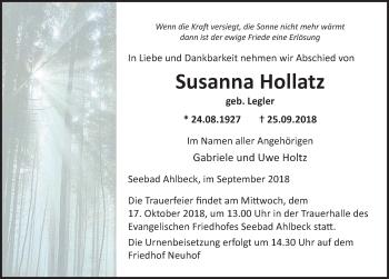 Traueranzeige für Susanna Hollatz vom 29.09.2018 aus Ostsee-Zeitung GmbH