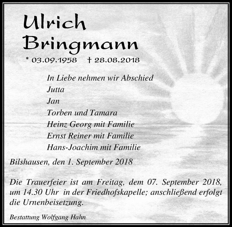 Traueranzeige von  Ulrich Bringmann