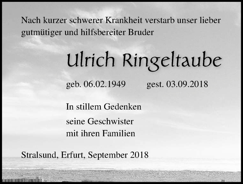 Traueranzeige von  Ulrich Ringeltaube