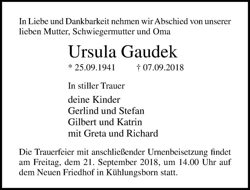 Traueranzeige von  Ursula Gaudek
