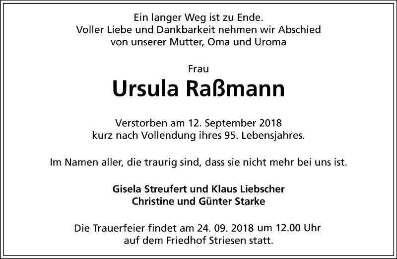 Traueranzeige für Ursula Raßmann vom 22.09.2018 aus Dresdner Neue Nachrichten