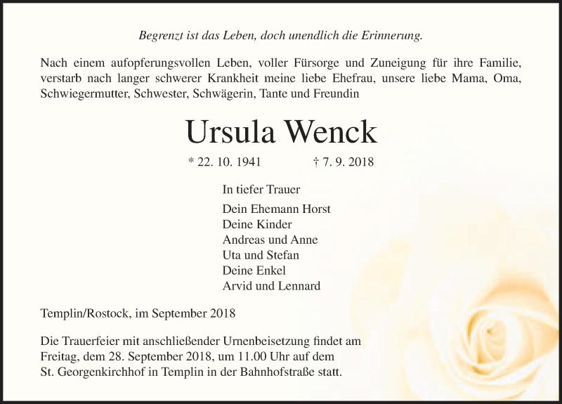 Traueranzeige von  Ursula Wenck
