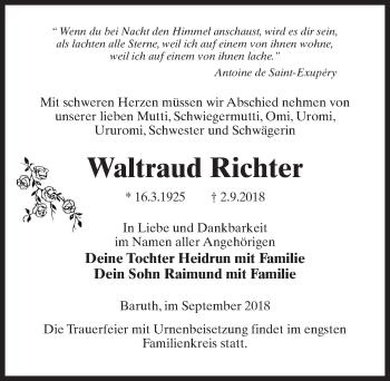 Traueranzeige für Waltraud Richter vom 08.09.2018 aus Märkischen Allgemeine Zeitung