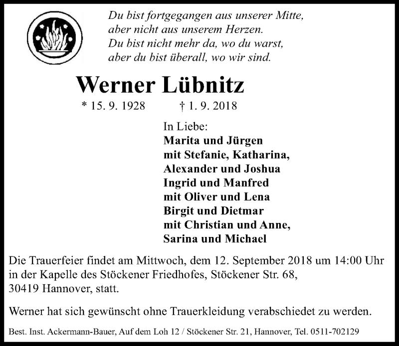 Traueranzeige von  Werner Lübnitz