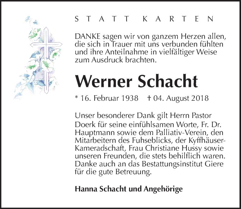 Traueranzeige für Werner Schacht vom 01.09.2018 aus Peiner Allgemeine Zeitung
