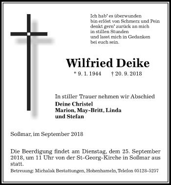 Traueranzeige für Wilfried Deike vom 22.09.2018 aus Peiner Allgemeine Zeitung