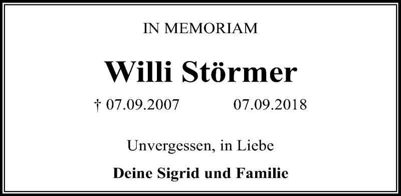 Traueranzeige von  Willi Störmer