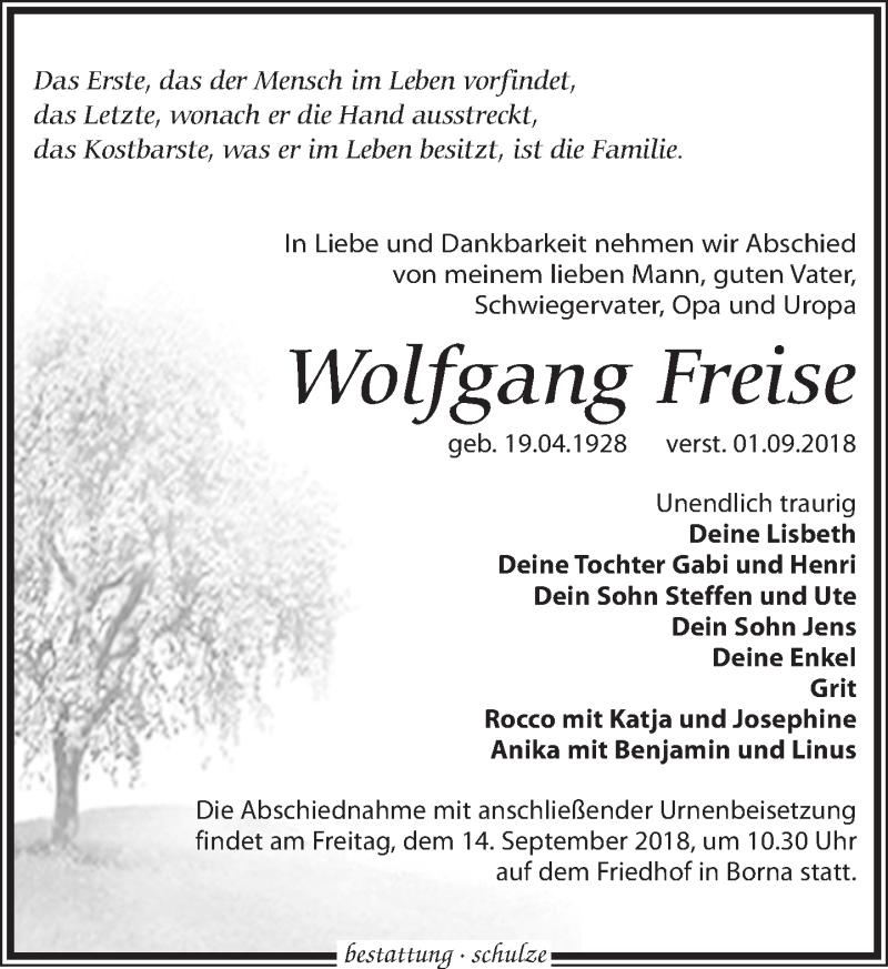 Traueranzeige von  Wolfgang Freise