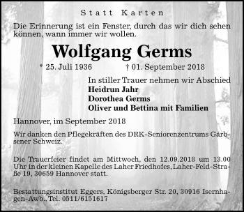Traueranzeige für Wolfgang Germs vom 08.09.2018 aus Hannoversche Allgemeine Zeitung/Neue Presse