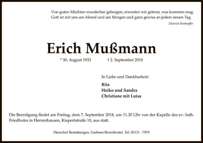 Traueranzeige von  Erich Mußmann
