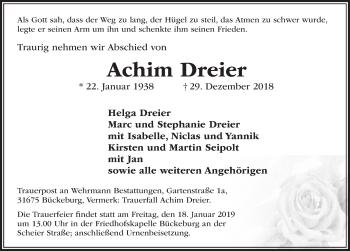 Traueranzeige für Achim Dreier vom 05.01.2019 aus Schaumburger Nachrichten