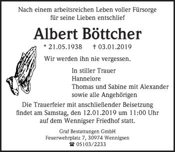 Traueranzeige für Albert Böttcher vom 10.01.2019 aus Hannoversche Allgemeine Zeitung/Neue Presse