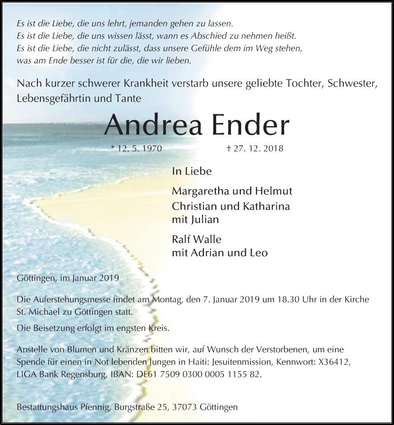 Traueranzeige für Andrea Ender vom 05.01.2019 aus Göttinger Tageblatt