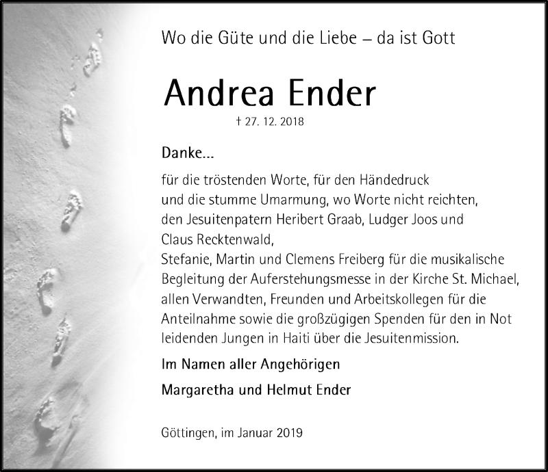 Traueranzeige für Andrea Ender vom 26.01.2019 aus