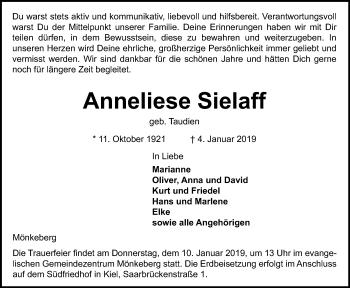 Traueranzeige für Anneliese Sielaff vom 08.01.2019 aus Kieler Nachrichten