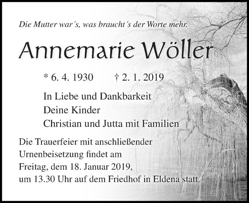 Traueranzeige von  Annemarie Wöller