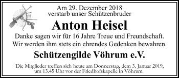 Traueranzeige für Anton Heisel vom 03.01.2019 aus Peiner Allgemeine Zeitung