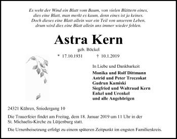 Traueranzeige für Astra Kern vom 12.01.2019 aus Kieler Nachrichten