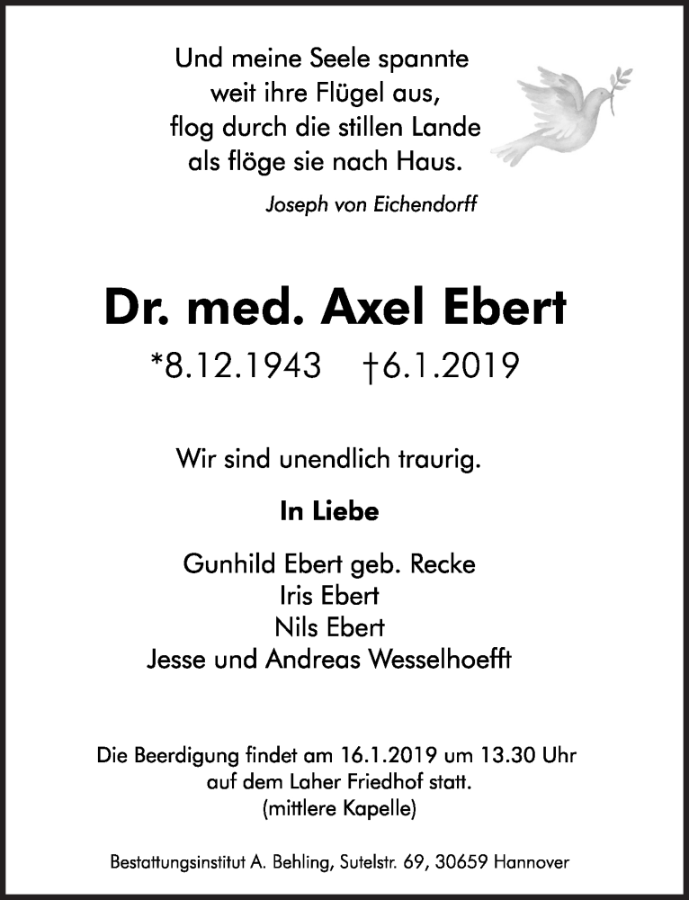 Traueranzeige für Axel Ebert vom 12.01.2019 aus Hannoversche Allgemeine Zeitung/Neue Presse