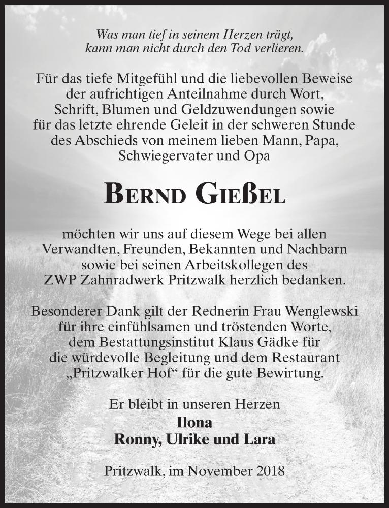 Traueranzeige für Bernd Gießel vom 12.01.2019 aus Märkischen Allgemeine Zeitung
