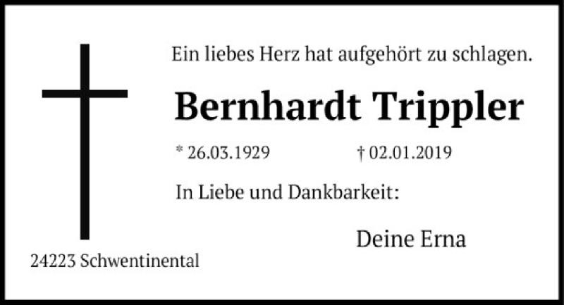 Traueranzeige für Bernhardt Trippler vom 05.01.2019 aus Kieler Nachrichten