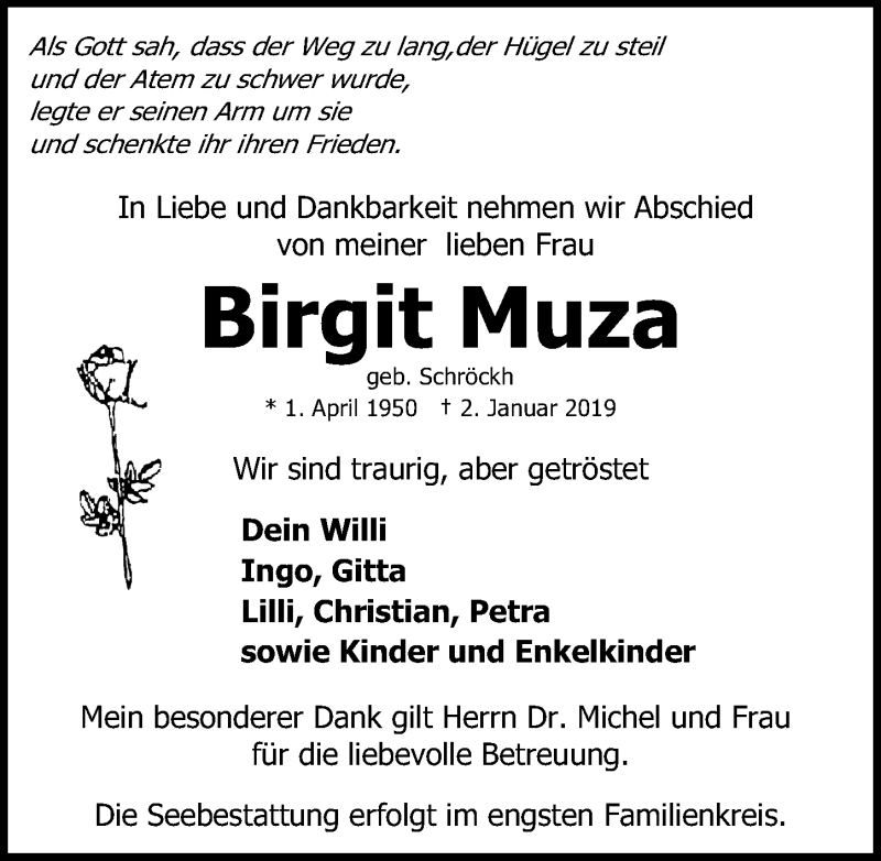 Traueranzeige von  Birgit Muza