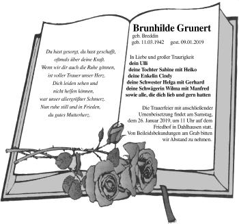 Traueranzeige für Brunhilde Grunert vom 12.01.2019 aus Märkischen Allgemeine Zeitung
