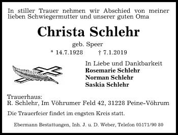 Traueranzeige für Christa Schlehr vom 10.01.2019 aus Peiner Allgemeine Zeitung