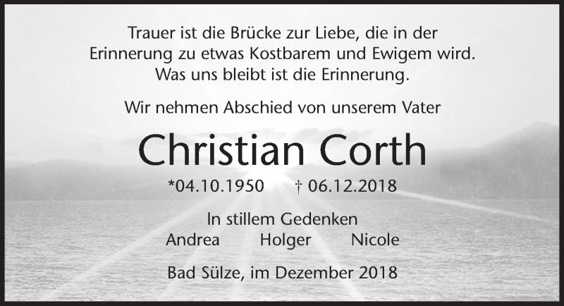 Traueranzeige für Christian Corth vom 19.01.2019 aus Ostsee-Zeitung GmbH