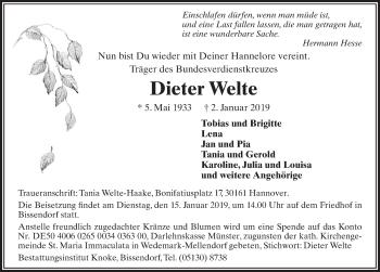 Traueranzeige für Dieter Welte vom 09.01.2019 aus Hannoversche Allgemeine Zeitung/Neue Presse