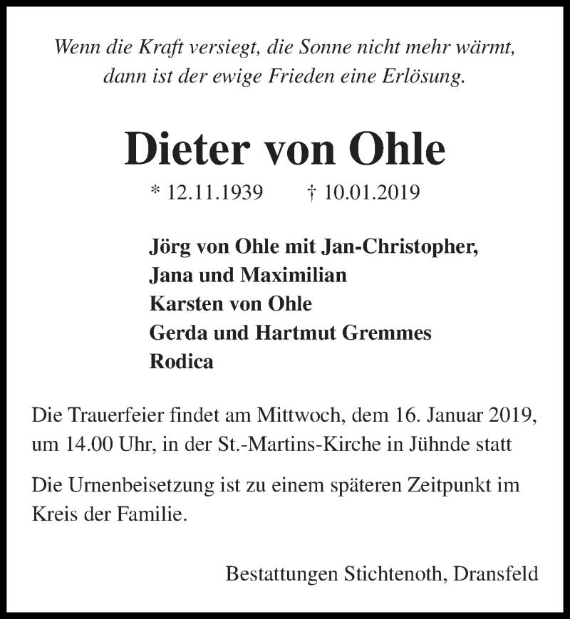 Traueranzeige für Dieter von Ohle vom 12.01.2019 aus Göttinger Tageblatt
