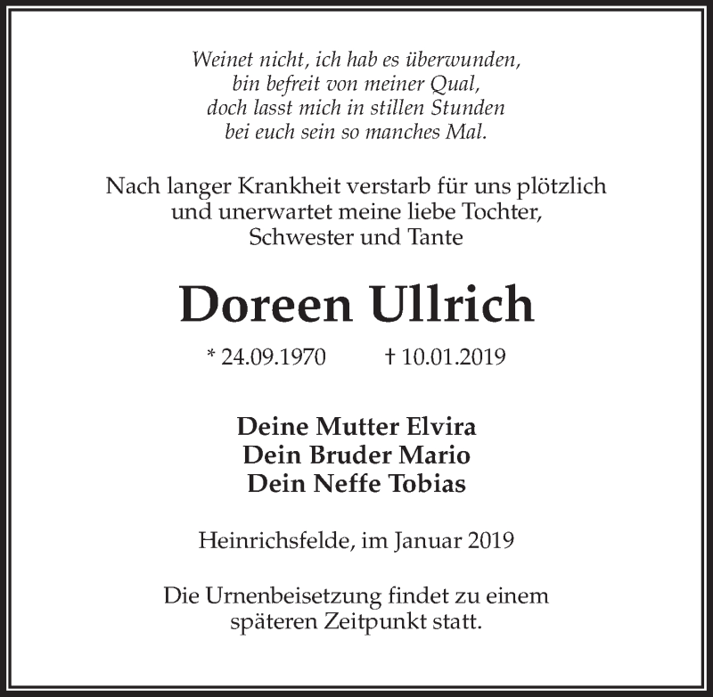 Traueranzeige für Doreen Ullrich vom 12.01.2019 aus Märkischen Allgemeine Zeitung