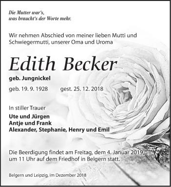 Traueranzeige für Edith Becker vom 29.12.2018 aus Torgauer Zeitung