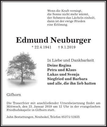 Traueranzeige für Edmund Neuburger vom 12.01.2019 aus Aller Zeitung