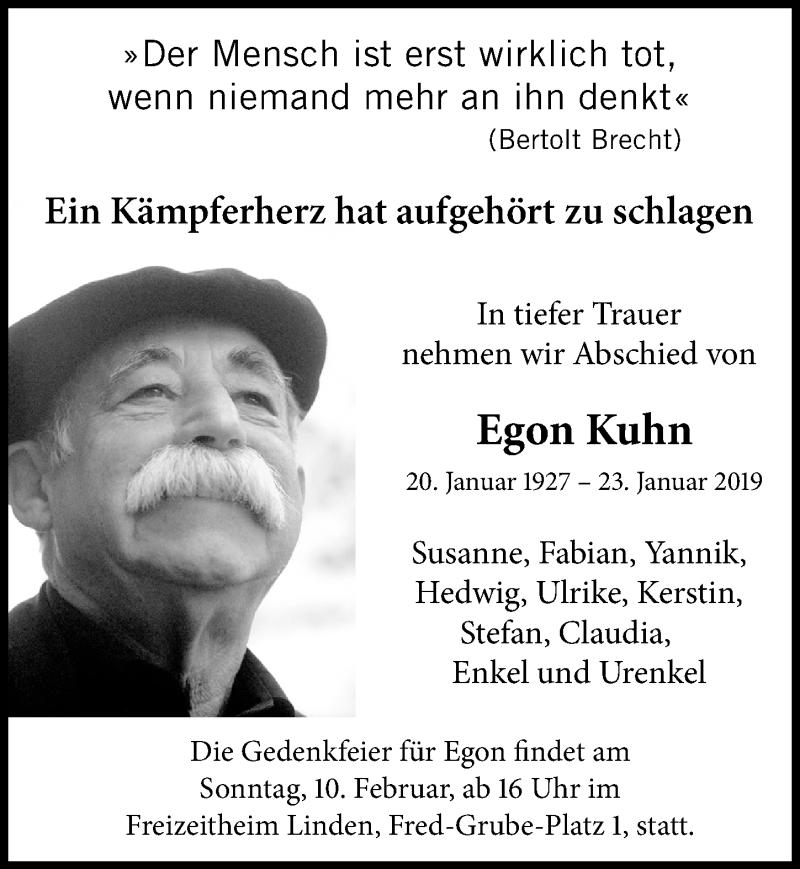 Traueranzeige für Egon Kuhn vom 26.01.2019 aus Hannoversche Allgemeine Zeitung/Neue Presse