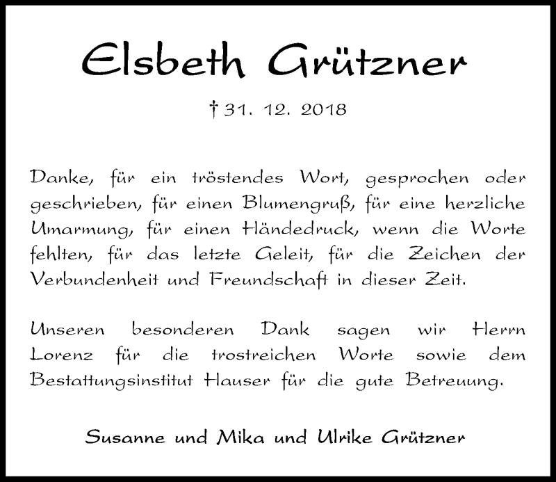 Traueranzeige für Elsbeth Grützner vom 19.01.2019 aus Kieler Nachrichten