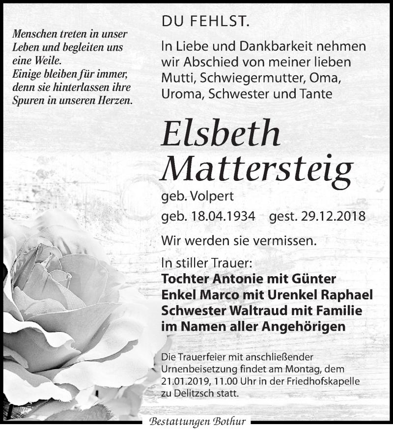 Traueranzeige von  Elsbeth Mattersteig