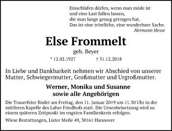 Traueranzeige für Else Frommelt vom 05.01.2019 aus Hannoversche Allgemeine Zeitung/Neue Presse