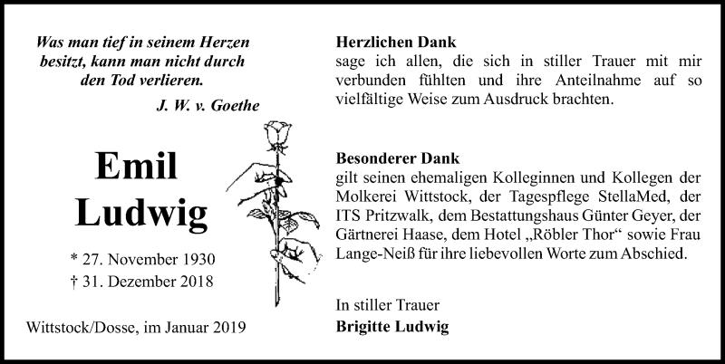 Traueranzeige für Emil Ludwig vom 26.01.2019 aus Märkischen Allgemeine Zeitung