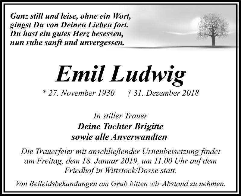 Traueranzeige für Emil Ludwig vom 05.01.2019 aus Märkischen Allgemeine Zeitung