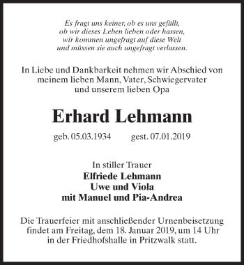 Traueranzeige für Erhard Lehmann vom 12.01.2019 aus Märkischen Allgemeine Zeitung