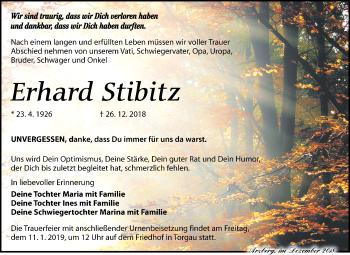 Traueranzeige für Erhard Stibitz vom 08.01.2019 aus Torgauer Zeitung